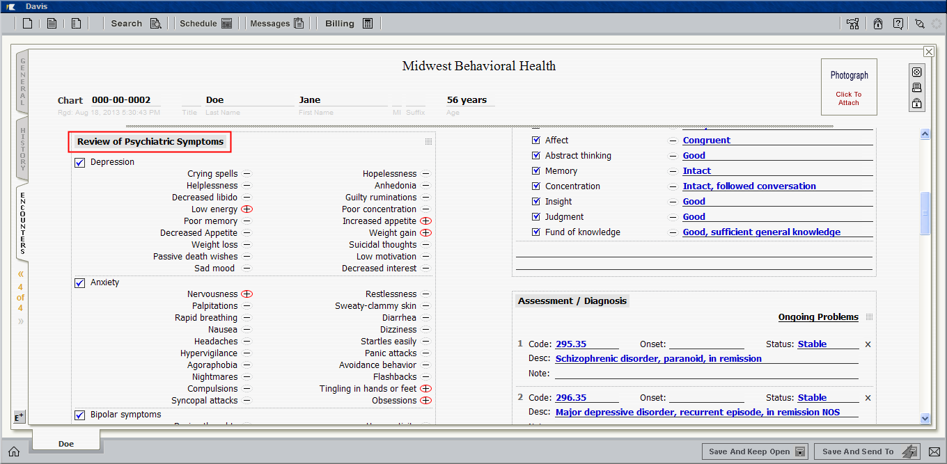 Review of systems for psychiatric patients - Just Like The Physical Examination Block Shown In The Previous Screenshot This Image Shows The Ros Block Titled Review Of Psychiatric Symptoms That Is